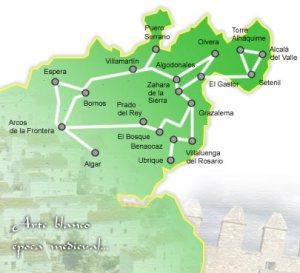 Mapa de la Ruta de los Pueblos Blancos de Cádiz